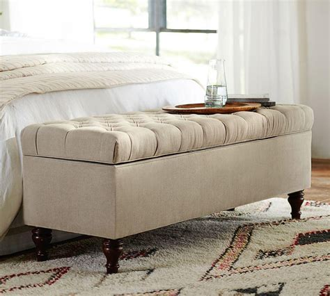 Ottoman In Front Of Bed by Lorraine Tufted Storage Bench Pottery Barn Au