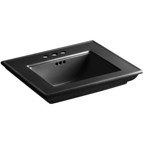 kohler memoirs 24 1 2 in pedestal sink basin in black