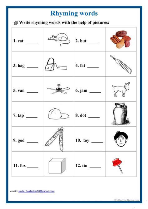 Rhyming Words Worksheet  Free Esl Printable Worksheets Made By Teachers