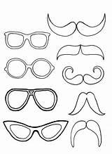 Coloring Pages Mustache Eyeglasses Pair Moustache Sunglasses Sheets Drawing Glasses Printable Eye Templates Play Mermaid Popular sketch template