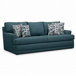 Calamar teal upholstery queen memory foam sleeper sofa for Sectional sleeper sofa city furniture