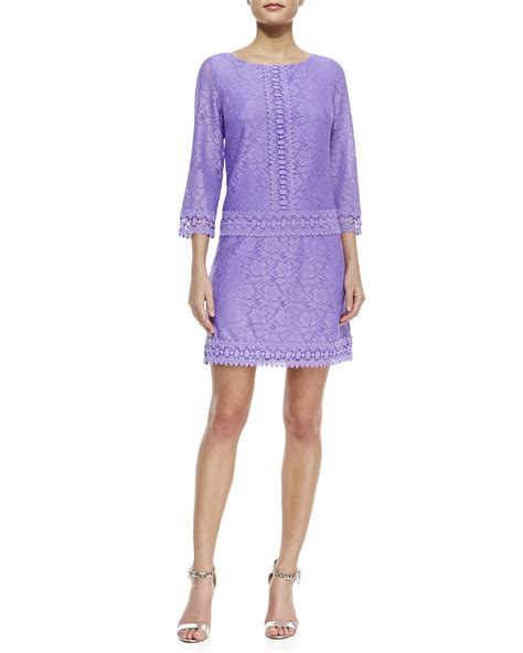 3 4 sleeve checked dress laundry by shelli segal 34sleeve lace dropwaist dress in