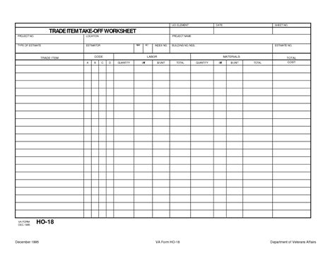 Material Takeoff Template by Trade Item Construction Takeoff Worksheet