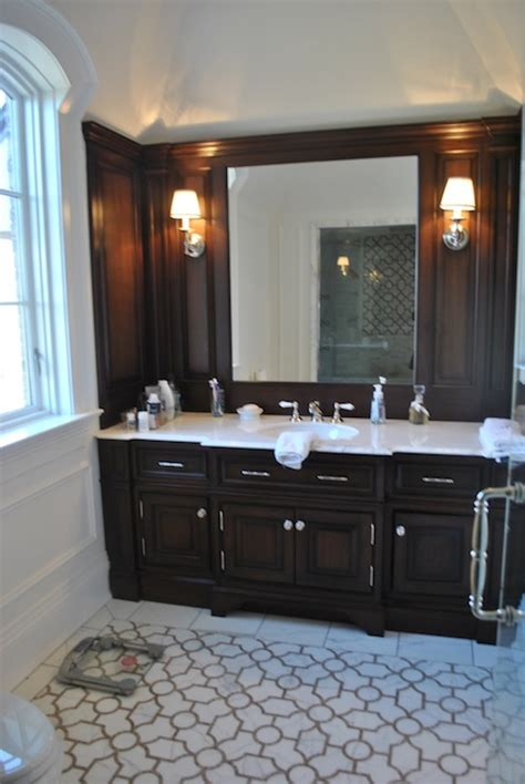chocolate brown bathroom cabinets transitional