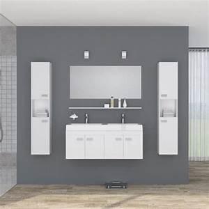 Double Vasque Salle De Bain : alpos salle de bain compl te double vasque 120 cm laqu blanc brillant achat vente salle ~ Teatrodelosmanantiales.com Idées de Décoration