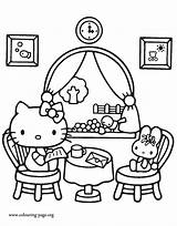Coloring Kitty Hello Colouring Restaurant Pages Printable Books Lunch Friend Sheets Fun Having Cartoon Characters Popular Valentine Kity Minions Colour sketch template
