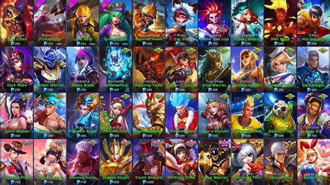 mobile legend characters mobile legends all skins ios android