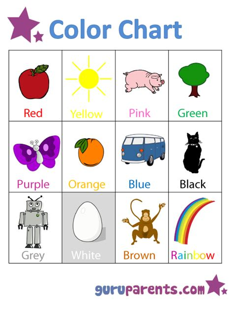 color song guruparents 924 | preschool color chart