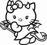 Devil Cute Drawing Kitty Hello Coloring Pages Getdrawings sketch template