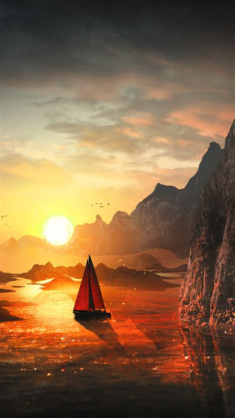 wallpaper sunset boat rocks waterfall harmony hd