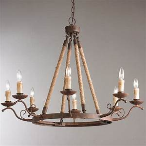Rustic, Iron, Rope, Wrapped, Chandelier
