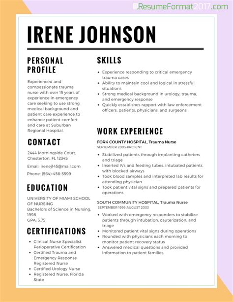 resume best format for nurses 2017 resume format 2017