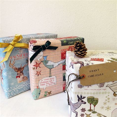recycled christmas wrapping paper three sheets by alice