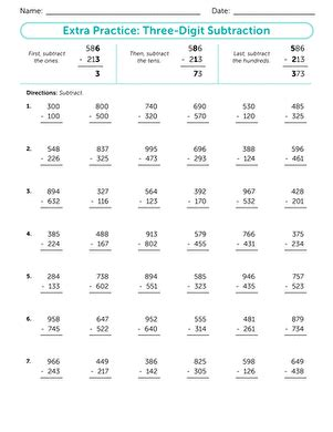 3rd grade math worksheet 3 digit subtraction practice three digit subtraction worksheet