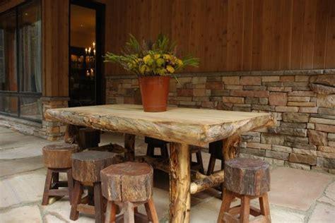 rustic outdoor dining set   logs hgtv