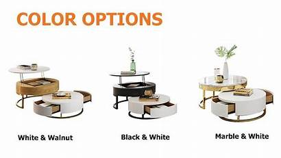 Coffee Round Lift Wood Drawers Rotatable Marble