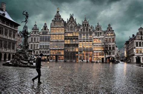 town square   rainy day  antwerp belgium photorator