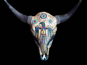Buffalo Bison Skull Mosaic Rattlesnake Mother Of Pearl