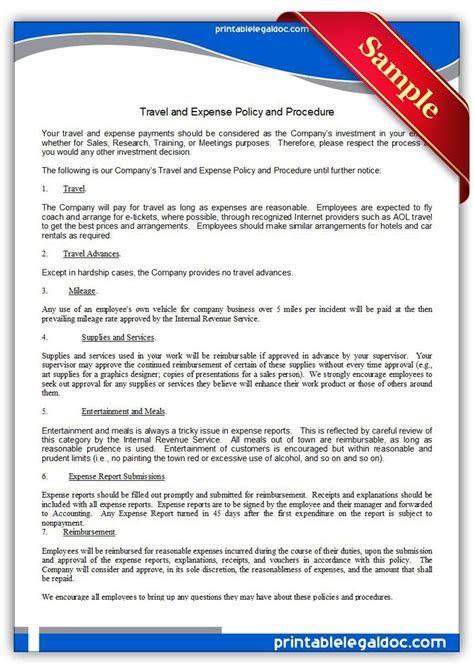 printable travel  expense policy  procedure template