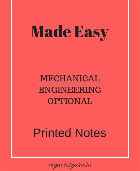 easy mechanical engineering optional class notes