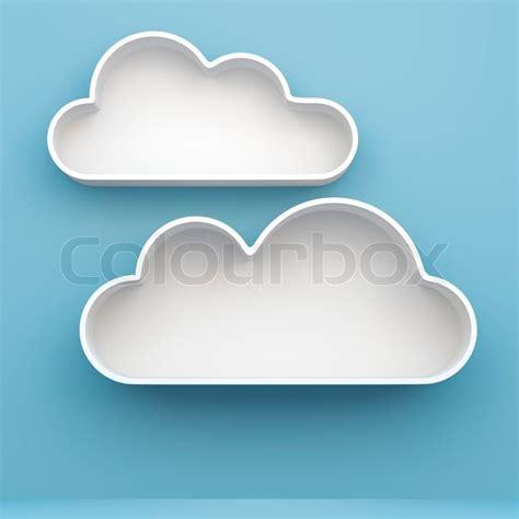 3d cloud shelves and shelf design on background stock