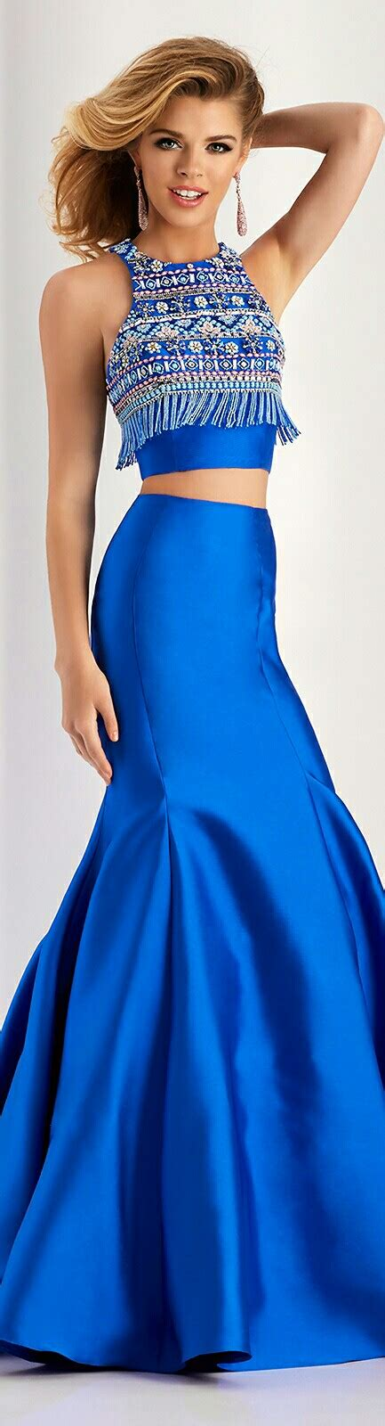 CLARISSE In Blue Mermaid-Style Funnel Skirt w. Chunky ...