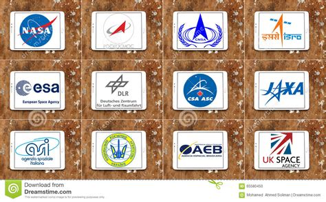Top Famous Space Agencies Logos And Vector Editorial Image