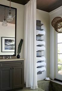 Lake house bathroom with vertical towel rack cottage for Storing towels in the bathroom