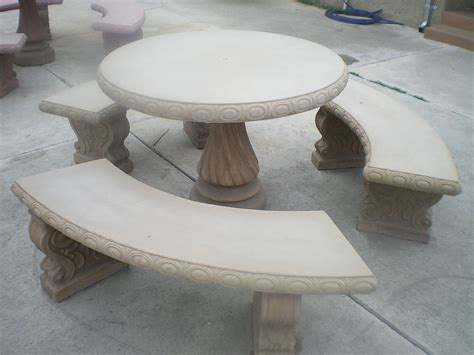 concrete cement tan colored round patio picnic table with