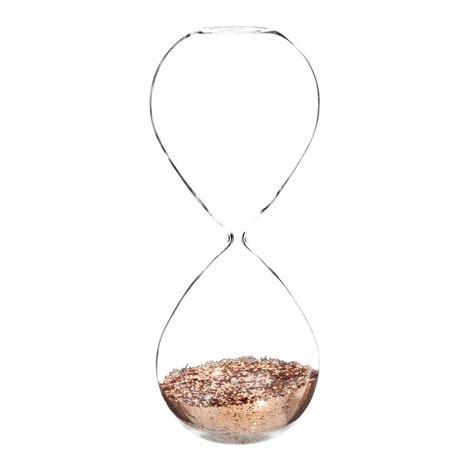 tableau chambre bebe sablier à paillettes en verre h 25 cm copper maisons du