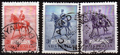 australia stamps  king george  silver jubilee set