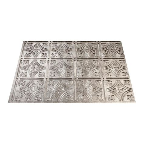 thermoplastic panels kitchen backsplash shop fasade 18 5 in x 24 5 in cross hatch silver thermoplastic backsplash at lowes com