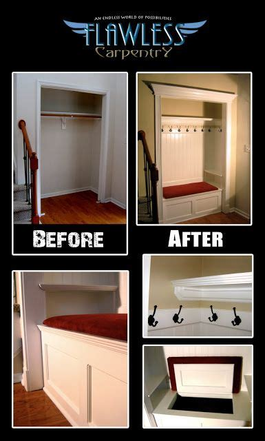 flawless carpentry custom built  mud closet build transformation kitchens entryway closet