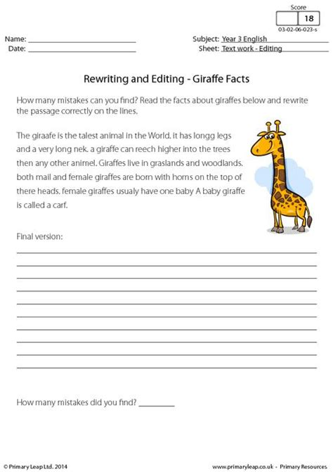 rewriting and editing giraffe facts primaryleap co uk