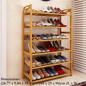 Zimtown, Shoe, Rack, Concise, Rectangle, 6, Tiers, Bamboo, Shoe, Rack, Wood, Color, -, Walmart, Com