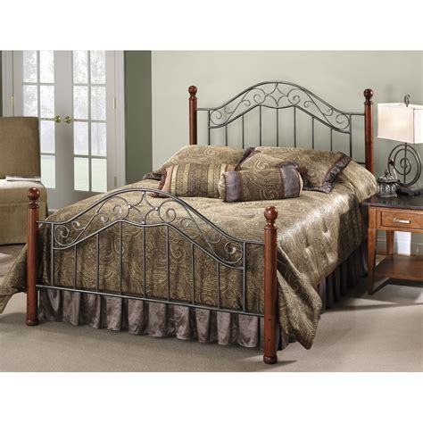 Martino Wood And Iron Bed In Smoke Silver Cherry