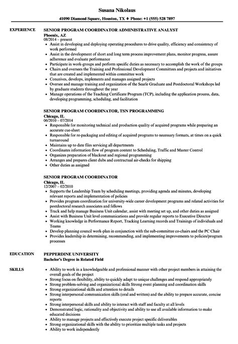 Program Coordinator Resume by Senior Program Coordinator Resume Sles Velvet