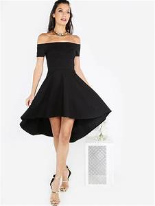 bardot dip hem skater dress sheinsheinside With shein robe de soirée