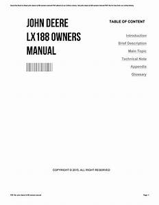 John Deere Lx188 Owners Manual By Ugimail02
