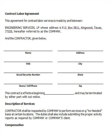 contract labor contract form 44 agreement form exles sle templates