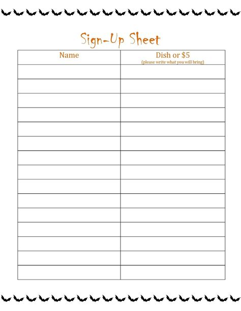 Blank Sign Up Sheet Pdf by Loving Printable Part 2