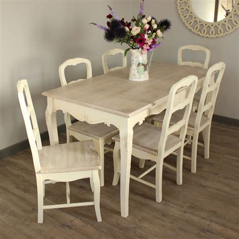 cream large dining table   chairs set kitchen shabby