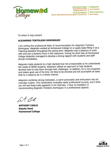 reference letter  anthony carlo homewood college