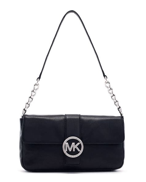 michael michael kors small fulton pebbled leather bag  black lyst