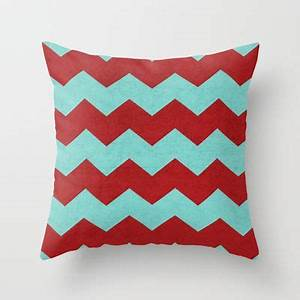 Chevron red and teal throw pillow by her art for Teal and red pillows