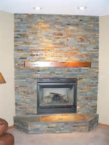Slate Stacked Stone Fireplace