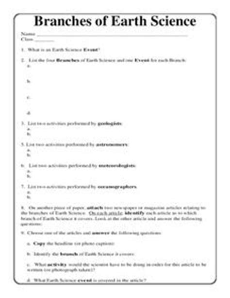 branches of earth science worksheet for 5th 10th grade lesson planet