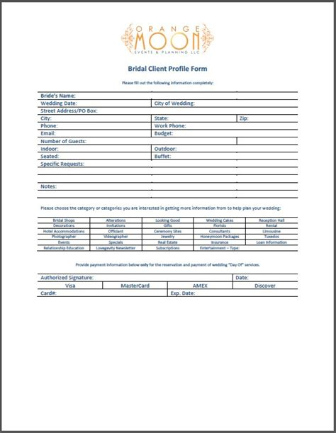 client profile template bridal client profile form orange moon