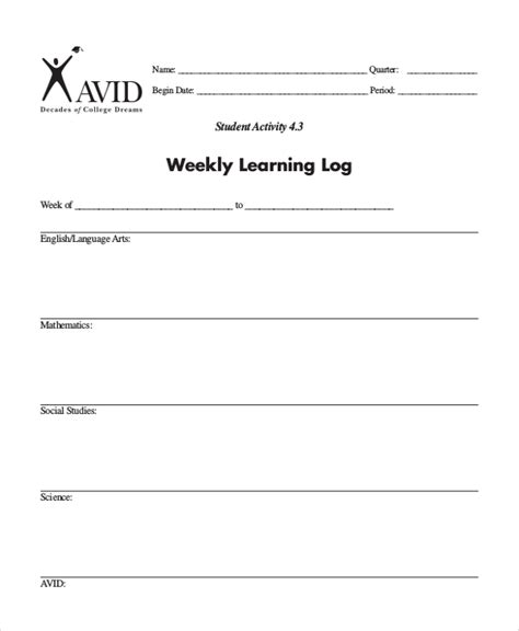 Learning Log Template  10+ Free Word, Excel, Pdf Document