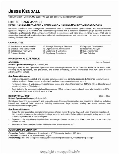 Bank Resume by Simple Operations Manager Bank Resume Sle Resume Format